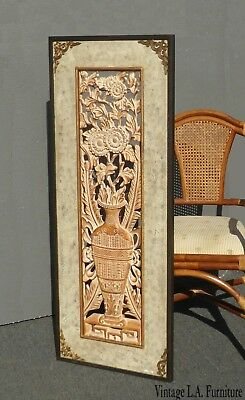 """Ornate Carved Wood Floral """"Ancient Vases"""" Decorative Wall Panel Picture"""