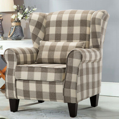 Latte Tartan Fabric High Back Chair/ Fireside Armchair Winged Sofa Occasional Uk
