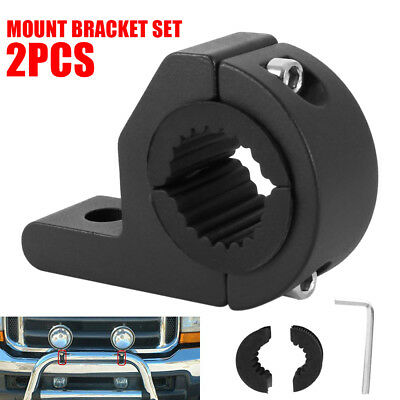2x 19-30mm Pipe Mount Bracket Clamps LED Work Light Bar + 2 set Inserts Bullbar