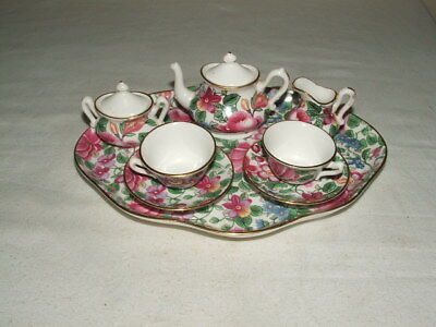 Crown Staffordshire Art Deco Chintz Miniature Caberet Set Truly Stunning