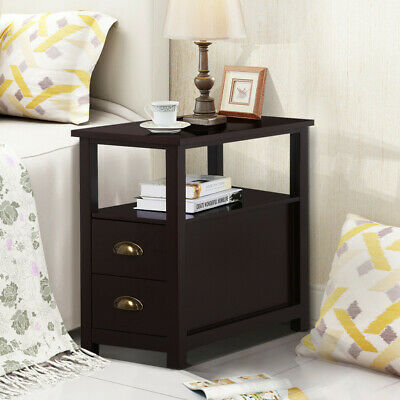 Nightstand Chair Bed Side End Table Bedroom Coffee Stand Shelf with 2 Drawers