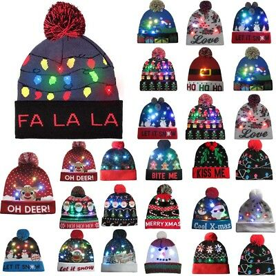LED Light-up Knitted Ugly Sweater Holiday Xmas Christmas Beanie Fashion  Gift 9 d8337d527c61