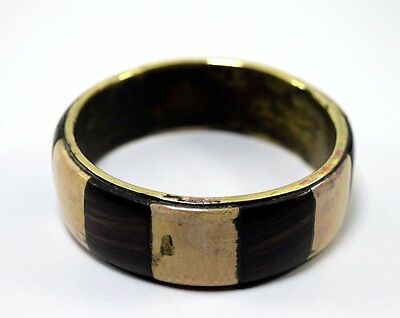 Vintage brass base & ivr fitted wood bangle stylish collectible jewelry.i8-45 AU