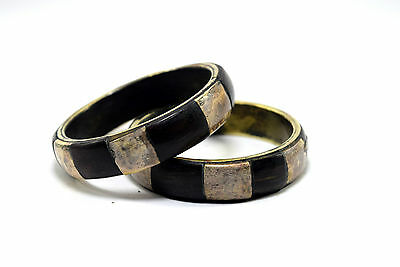 Pair Of Vintage Indian Brass Mosaic Wood Ivr Inlay Bangle unique Gift. i8-32 AU