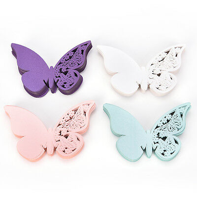 50Laser Cut Butterfly Table Mark Wine Glass Name'Place'Card Wedding Party Decors