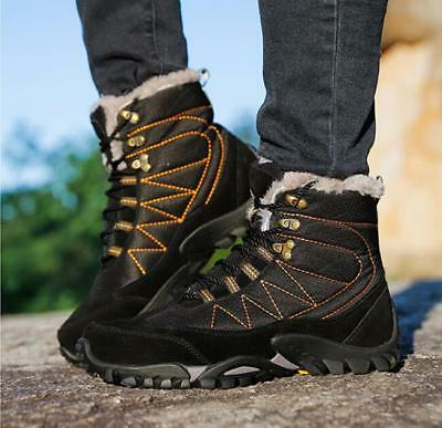 Mens Plush Winter Snow Outdoor Work Shoes Warm Ankle Boots Fur Lined Hiking V968
