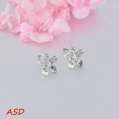 Wholesale 10pcs Cute Flower Petals Inaly Rhinestone Gold Silver Ear Stud