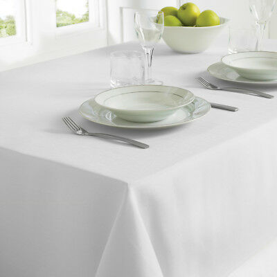 Country Club Table Cloth 130 x 228cm White Linen Look Table Covering Occasion