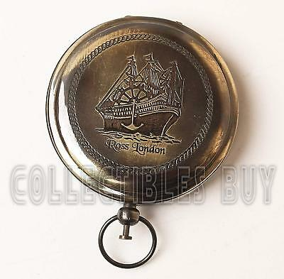 Antique Brass Compass Vintage Handmade Push Button Pocket Style Christmas gift