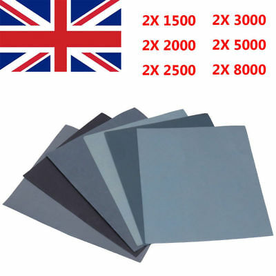 12 Sheet Grit 1500/2000/2500/3000/5000/8000 Wet And Dry Sand Paper Mixed Grit UK