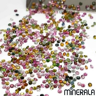 [WHOLESALE] NATURAL GEMSTONE MULTI COLOR TOURMALINE ROUND 2mm-2.25mm FACETED