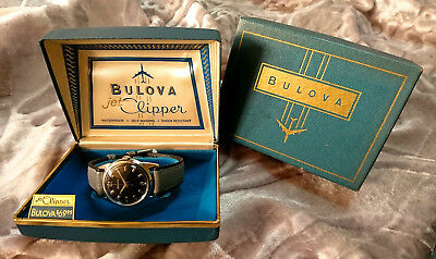 Bulova 1967 'JET CLIPPER' vintage automatic watch wth Box 10BLAC Black dial Rare