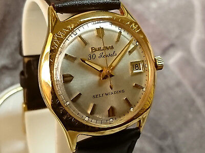 Bulova 1969 '30 JELWELS' vintage automatic watch with date 10COACD pearl dial