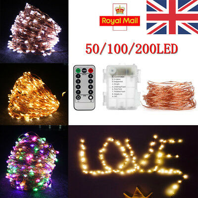 50/100/200 LED Fairy Lights String Copper Wire Lights Waterproof Christmas Decor