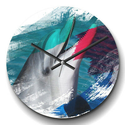 Large Wall Clock Silent 32cm Modern Abstract Home Decor Dolphin (2) V2 Animal