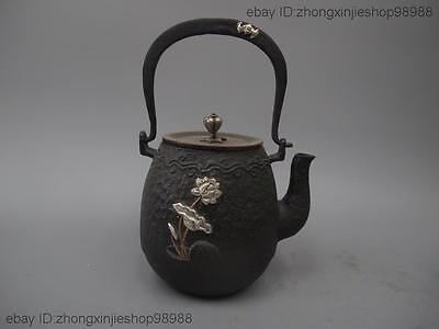 Archaic Japan Iron Silver Blessing lotus flower Flagon Kettle Wine Tea Pot