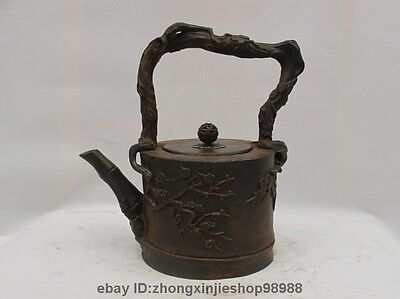 China Collect Japanese Iron Bamboo Plum Flower Flagon Kettle Wine Tea Pot