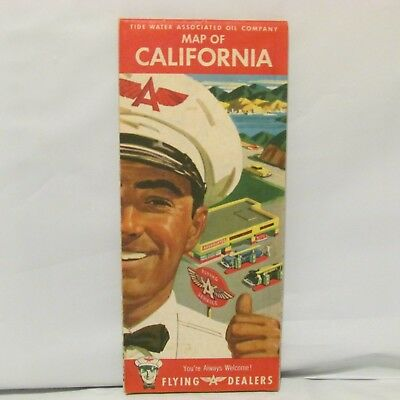 1950 Flying A Gas Gasoline Advertising Road Map California Gas Station Attendant