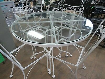 Vintage Salterini/ Woodard Wrought Iron Patio Dining Set White