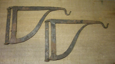 Two 19th c. Antique Hand Forged Wrought Iron Pivoting Beam Hooks, AAFA NR