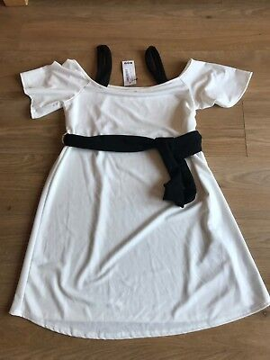 Bnwt Boohoo Maternity Cream & Black Open Shoulder Dress Size 14