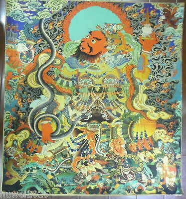 90CM Old Mysterious Tibetan hand-painted Cotton Thangka TK0515