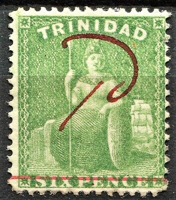 Trinidad 1882, 1d on 6d Yellow Green hand surcharge, SG 104, M/Hinged, CV £15