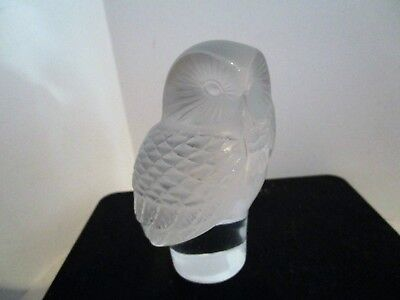 Lalique France Clear Frosted Crystal Barn Owl Chouette Hibou Paperweight-MINT!!