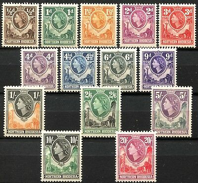 Northern Rhodesia 1953 issue, SG 61 - 74, Mint NEVER Hinged, CV £75