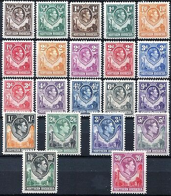 Northern Rhodesia 1938 issue, SG 25 - 45, Mint Hinged, CV £250