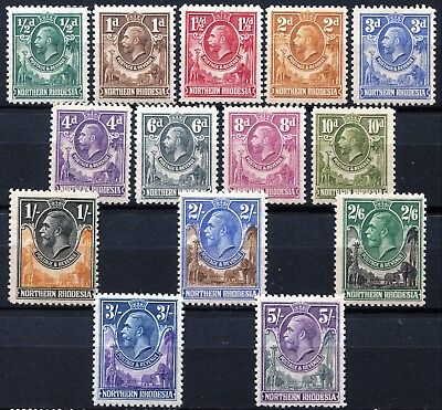 Northern Rhodesia 1925 issue, SG 1 - 14, Mint Hinged, CV £190