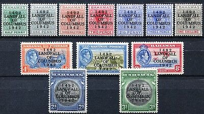 Bahamas 1942 Columbus short set, SG 162 - 173, Mint Hinged, CV £40