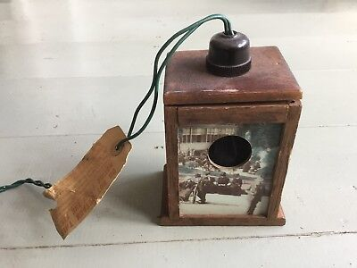 "Small Vintage Wooden Electrical Light Box 4""x3.5'x5"" Removable Victorian Scene"