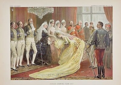 Queen Victoria Golden Jubilee, Drawing Room, Large 1880s Antique Color Print