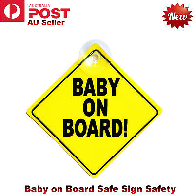 Baby on Board Plastic Safe Sign Safety Car Window Display Suction Stick Yellow