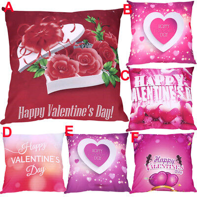 Valentine's Day Print Pillow Case Polyester Sofa Flower Cushion Cover Home Decor
