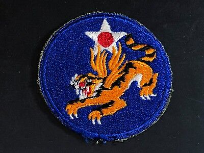 WWII Patch Army Air Corps Forces Flying Tigers CBI AVG 14th AF Cut Edge OD Back