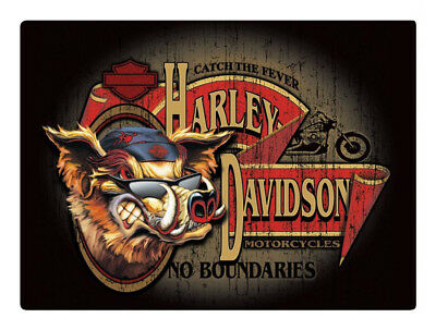 Harley-Davidson No Boundaries Hog Embossed Tin Sign, 17.125 x 12.5625 in 2010491