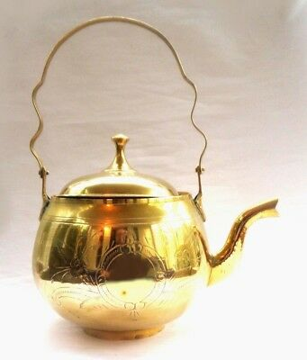 Large Vintage Brass teapot kettle with swivel handle from 1950s