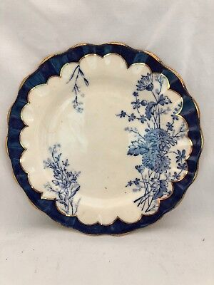 Antique Flow Blue Transferware Floral PLATE Luncheon Salad