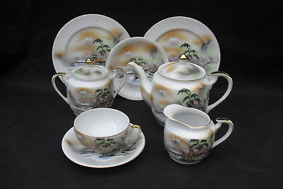 Japanese egg shell teaset with landscape and water wheel - 7 pieces