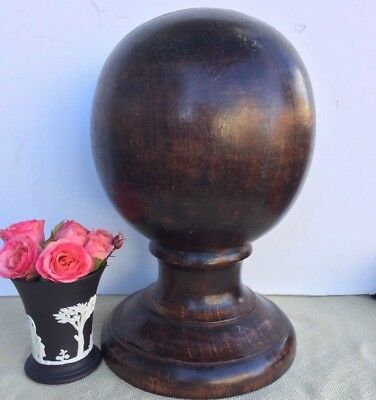 Antique Mahogany Wood Architectural Salvage Finial Newel Post Statue Sphere