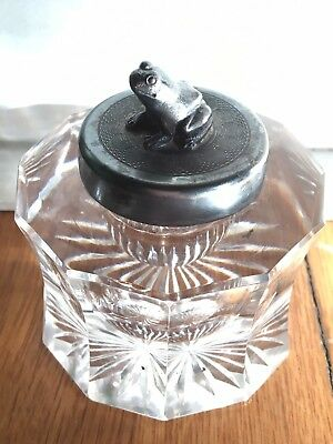 """Antique Cut Crystal German Inkwell Frog Decal Silver Cap 3"""" X 3"""" X 3.5"""""""