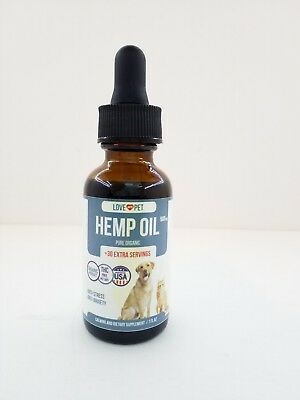 Organic Hemp Oil for Dogs, Cats Pets - Anxiety Stress Relief 500mg 1 fl oz.