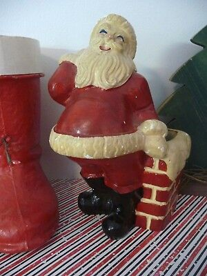 "Anique 1930's Vtg Kleiner Chalkware Santa Down The Chimney Xmas 8.5"" Tall"