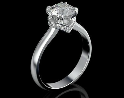 Ring Engagement 3 Ct Carat Diamond D Solitaire 14k White Gold Round Cut Wedding