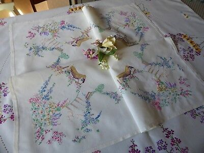 Vintage Hand Embroidered  Linen Tablecloth- Beautiful Hillside Cottages&gardens