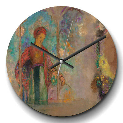 Large Wall Clock Silent Decor Odilon Redon Woman in a Gothic Arcade Painting