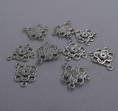 50pcs tibetan  silver color crafted stars pattern bail connector  H0711