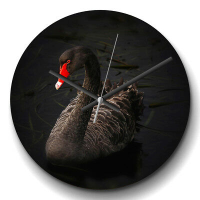 Large Wall Clock Silent 32cm Modern Home Decor Black Swan Animal
